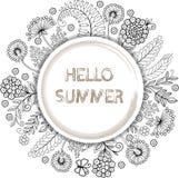 Διανυσματικό χρωματίζοντας βιβλίο αντιαγχωτικό για τους ενηλίκους Διακοσμητικό στρογγυλό floral πλαίσιο Γειά σου καλοκαίρι Στοκ Εικόνες