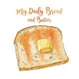Διανυσματικό ψωμί με το βούτυρο Στοκ φωτογραφία με δικαίωμα ελεύθερης χρήσης