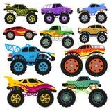 Διανυσματικό όχημα κινούμενων σχεδίων φορτηγών τεράτων ή αυτοκίνητο και ακραίο σύνολο απεικόνισης μεταφορών βαριού monstertruck μ ελεύθερη απεικόνιση δικαιώματος