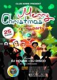 Διανυσματικό ύφος disco πρόσκλησης γιορτών Χριστουγέννων απεικόνιση αποθεμάτων