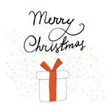 Διανυσματικό δώρο Χριστουγέννων στο ύφος σκίτσων διανυσματική απεικόνιση