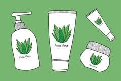 Διανυσματικό aloe σαπούνι της Βέρα, συρμένο χέρι καλλυντικό απεικόνισης διανυσματική απεικόνιση