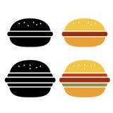 Διανυσματικό burger εικονίδιο Στοκ εικόνες με δικαίωμα ελεύθερης χρήσης