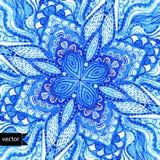 Διανυσματικό doily σχέδιο gzhel watercolor διανυσματικό Διακοσμητικό άσπρο α Στοκ Εικόνες