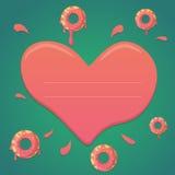 Διανυσματικό doughnut σχέδιο ημέρας βαλεντίνων στα πράσινα και ρόδινα χρώματα κλίσης μεντών με την καρδιά Στοκ φωτογραφία με δικαίωμα ελεύθερης χρήσης