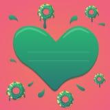 Διανυσματικό doughnut σχέδιο ημέρας βαλεντίνων στα πράσινα και ρόδινα χρώματα κλίσης μεντών με την καρδιά Σχέδιο για το χαιρετισμ Στοκ εικόνα με δικαίωμα ελεύθερης χρήσης