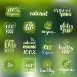 Διανυσματικό eco, οργανικά, βιο λογότυπα ή σημάδια Vegan, υγιή διακριτικά τροφίμων, ετικέττες που τίθενται για τον καφέ, εστιατόρ διανυσματική απεικόνιση