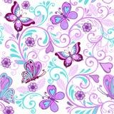 Διανυσματικό floral άνευ ραφής σχέδιο με τις πεταλούδες και τα λουλούδια Στοκ εικόνα με δικαίωμα ελεύθερης χρήσης