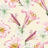 Διανυσματικό floral άνευ ραφής σχέδιο με τους ρόδινους κρίνους και τα άσπρα λουλούδια διανυσματική απεικόνιση
