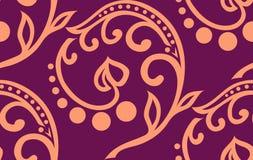 Διανυσματικό floral άνευ ραφής σχέδιο twiddle με τις καμπύλες, τους κύκλους και την καρδιά Στοκ Εικόνες