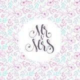 Διανυσματικό floral πρότυπο για τις γαμήλιες κάρτες «ο κ. και κα» στο delica Στοκ φωτογραφία με δικαίωμα ελεύθερης χρήσης
