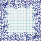 Διανυσματικό floral πλαίσιο doodle Στοκ φωτογραφία με δικαίωμα ελεύθερης χρήσης