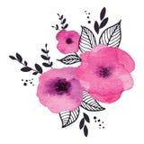 Διανυσματικό floral πλαίσιο watercolor Στοκ Εικόνες