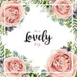 Διανυσματικό floral σχέδιο ανθοδεσμών πλαισίων καρτών με το ρόδινο ροδάκινο λ κήπων Στοκ Φωτογραφίες