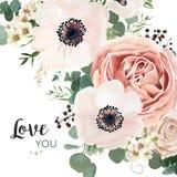 Διανυσματικό floral σχέδιο καρτών: το ρόδινο ροδάκινο λουλουδιών κήπων αυξήθηκε άσπρο Α Στοκ Εικόνα