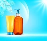 Διανυσματικό illustratin τρισδιάστατα μπουκάλια με το καλλυντικό προστασίας ήλιων υπέρ Στοκ φωτογραφία με δικαίωμα ελεύθερης χρήσης
