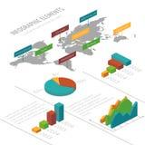 Διανυσματικό infographic πρότυπο με τα τρισδιάστατα isometric στοιχεία, τον παγκόσμιο χάρτη και τα διαγράμματα για τις επιχειρησι απεικόνιση αποθεμάτων