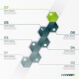 Διανυσματικό infographic πρότυπο με 7 hexagons για τις παρουσιάσεις διανυσματική απεικόνιση