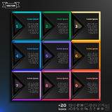 Διανυσματικό infographic σχέδιο με τα ζωηρόχρωμα τετράγωνα στο μαύρο υπόβαθρο Στοκ Φωτογραφία