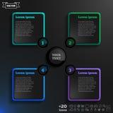 Διανυσματικό infographic σχέδιο με τα ζωηρόχρωμα τετράγωνα στο μαύρο υπόβαθρο Στοκ εικόνες με δικαίωμα ελεύθερης χρήσης