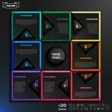 Διανυσματικό infographic σχέδιο με τα ζωηρόχρωμα τετράγωνα στο μαύρο υπόβαθρο Στοκ Εικόνες