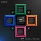 Διανυσματικό infographic σχέδιο με τα ζωηρόχρωμα τετράγωνα στο μαύρο υπόβαθρο Στοκ Εικόνα