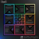 Διανυσματικό infographic σχέδιο με τα ζωηρόχρωμα τετράγωνα στο μαύρο υπόβαθρο Στοκ φωτογραφίες με δικαίωμα ελεύθερης χρήσης