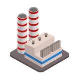 Διανυσματικό isometric βιομηχανικό εικονίδιο κτηρίων εργοστασίων Στοκ Εικόνα