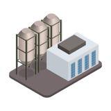 Διανυσματικό isometric βιομηχανικό εικονίδιο κτηρίων εργοστασίων Στοκ εικόνες με δικαίωμα ελεύθερης χρήσης