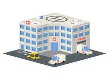 Διανυσματικό isometric εικονίδιο οικοδόμησης νοσοκομείων Στοκ Φωτογραφία