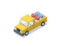 Διανυσματικό isometric κίτρινο αυτοκίνητο βαγονιών εμπορευμάτων με τα μπλε βαρέλια, minivan, φορτηγά για το φορτίο Στοκ φωτογραφίες με δικαίωμα ελεύθερης χρήσης