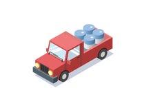 Διανυσματικό isometric κόκκινο αυτοκίνητο βαγονιών εμπορευμάτων με τα μπλε βαρέλια, minivan Στοκ Εικόνες