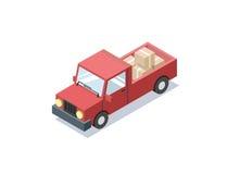 Διανυσματικό isometric κόκκινο αυτοκίνητο βαγονιών εμπορευμάτων με τα κιβώτια, minivan, φορτηγά για το φορτίο Στοκ Εικόνες