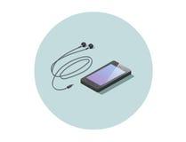 Διανυσματικό isometric μαύρο smartphone με τα ακουστικά Στοκ εικόνες με δικαίωμα ελεύθερης χρήσης