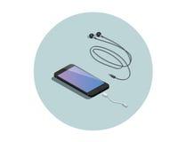 Διανυσματικό isometric μαύρο smartphone με τον προσαρμοστή ακουστικών Στοκ Εικόνα
