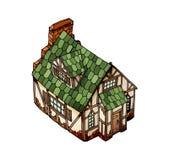 Διανυσματικό isometric σπίτι Παλαιό ευρωπαϊκό μέγαρο Απομονωμένο διάνυσμα αντικείμενο στο λευκό ελεύθερη απεικόνιση δικαιώματος
