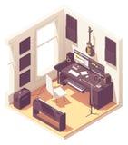 Διανυσματικό isometric στούντιο καταγραφής εγχώριας μουσικής διανυσματική απεικόνιση