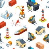 Διανυσματικό isometric σχέδιο ναυτικών και θαλασσίων λιμένων διανυσματική απεικόνιση
