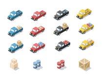 Διανυσματικό isometric σύνολο αυτοκινήτου βαγονιών εμπορευμάτων με το φορτίο Στοκ εικόνα με δικαίωμα ελεύθερης χρήσης