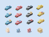 Διανυσματικό isometric σύνολο αυτοκινήτου βαγονιών εμπορευμάτων με το φορτίο Στοκ Φωτογραφία