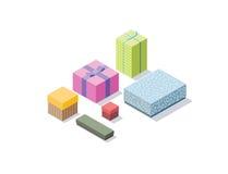 Διανυσματικό isometric σύνολο ζωηρόχρωμων κιβωτίων δώρων, τρισδιάστατο επίπεδο σχέδιο παρόν Στοκ Εικόνες