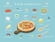 Διανυσματικό isometric σύνολο συστατικών για να χτίσει τη νόστιμη πίτσα συνήθειας Στοκ Εικόνες