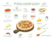 Διανυσματικό isometric σύνολο συστατικών για να χτίσει τη νόστιμη πίτσα συνήθειας Στοκ φωτογραφία με δικαίωμα ελεύθερης χρήσης