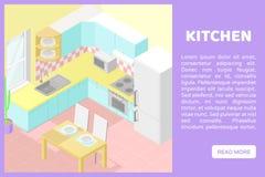 Διανυσματικό isometric χαμηλό πολυ εσωτερικό illustartion σακακιών κουζίνα Έμβλημα για έναν ιστοχώρο στοκ εικόνα με δικαίωμα ελεύθερης χρήσης