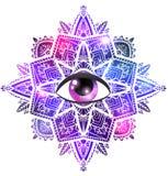 Διανυσματικό mandala zen με το μάτι της πρόνοιας, του σχεδίου boho, του διαστημικού υποβάθρου με τα αστέρια και του νεφελώματος διανυσματική απεικόνιση