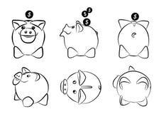 Διανυσματικό Piggy Moneybox με τα νομίσματα Στοκ Φωτογραφία