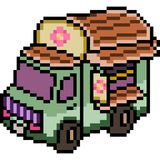 Διανυσματικό pixel art van truck Στοκ φωτογραφία με δικαίωμα ελεύθερης χρήσης