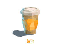 Διανυσματικό polygonal φλυτζάνι χαρτοκιβωτίων απεικόνισης του καφέ cappuccino Στοκ φωτογραφία με δικαίωμα ελεύθερης χρήσης