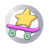 Διανυσματικό skateboard κινούμενων σχεδίων ελεύθερη απεικόνιση δικαιώματος