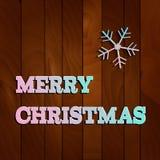 Διανυσματικό snowflake Χριστουγέννων της Λευκής Βίβλου σε ένα ξύλινο υπόβαθρο Στοκ Εικόνες